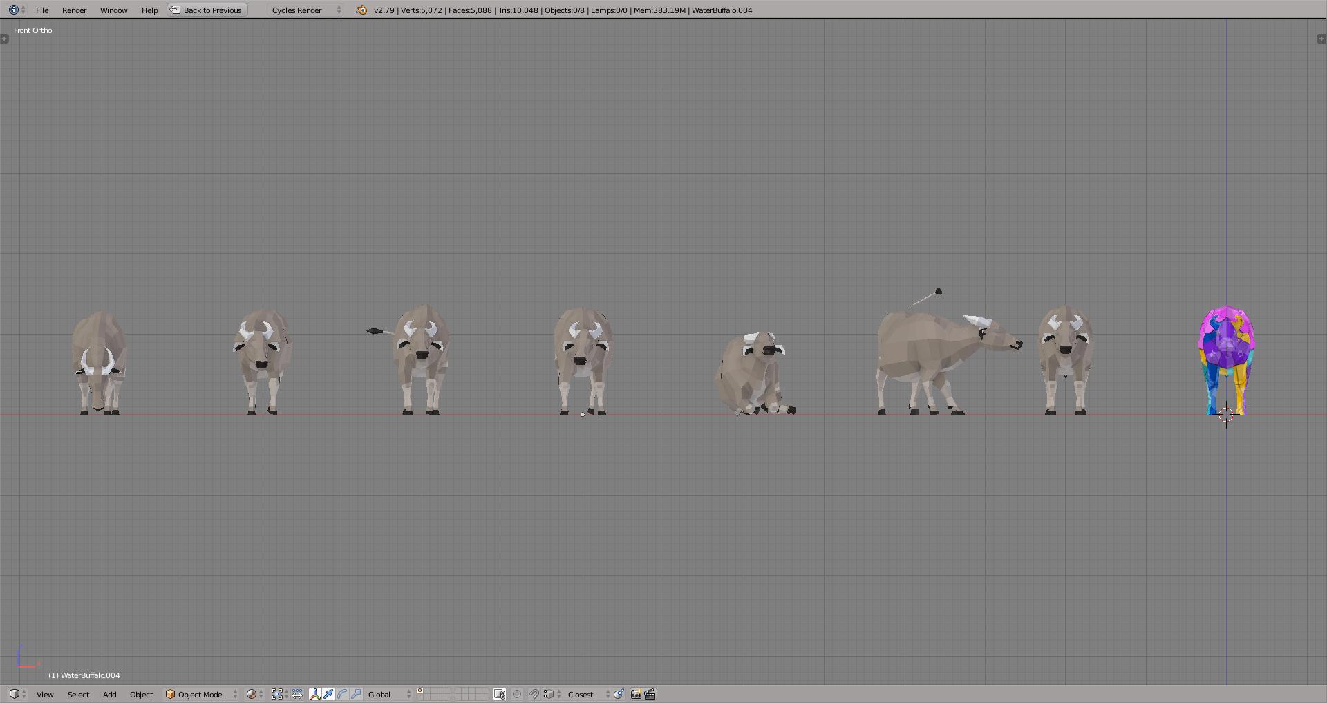 3D render buffalo lowpoly model