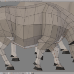 3D render buffalo lowpoly model