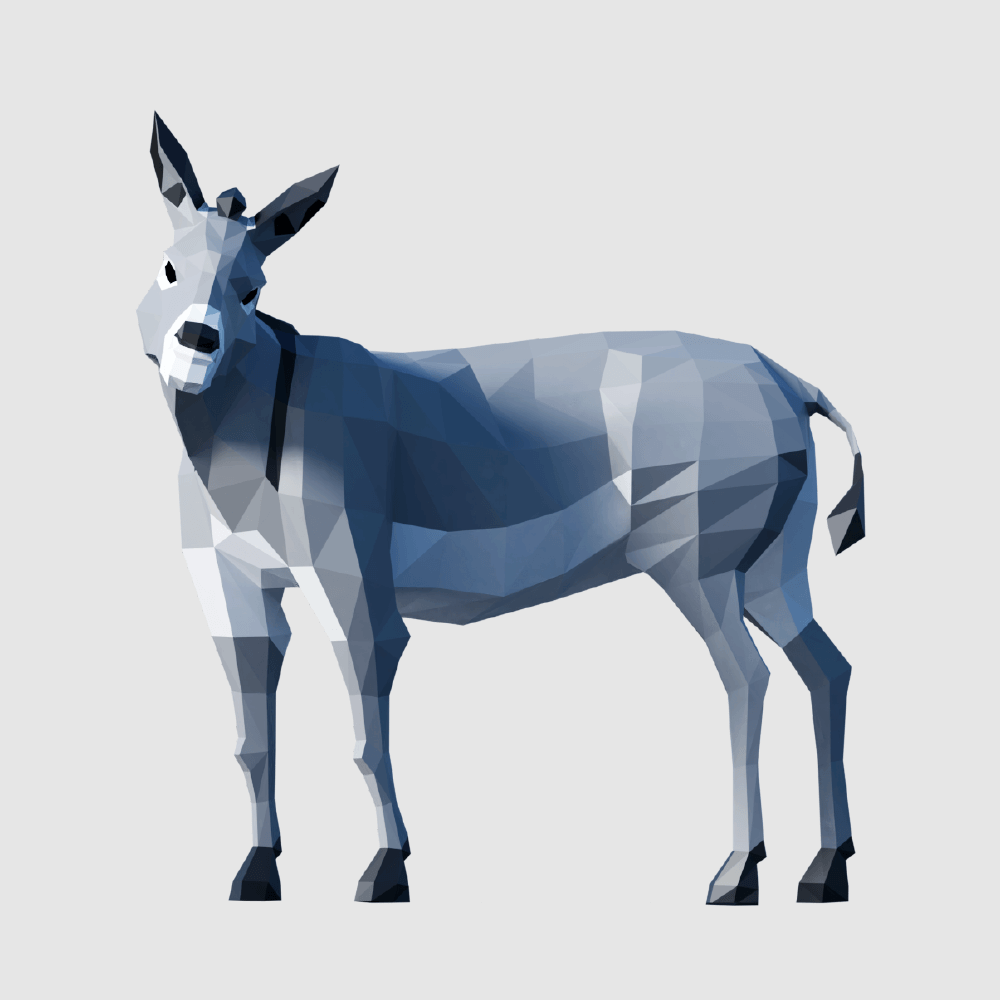 3D render donkey lowpoly model
