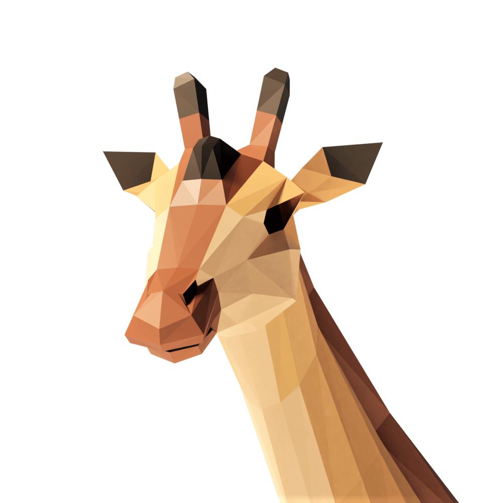 3D render giraffe lowpoly model