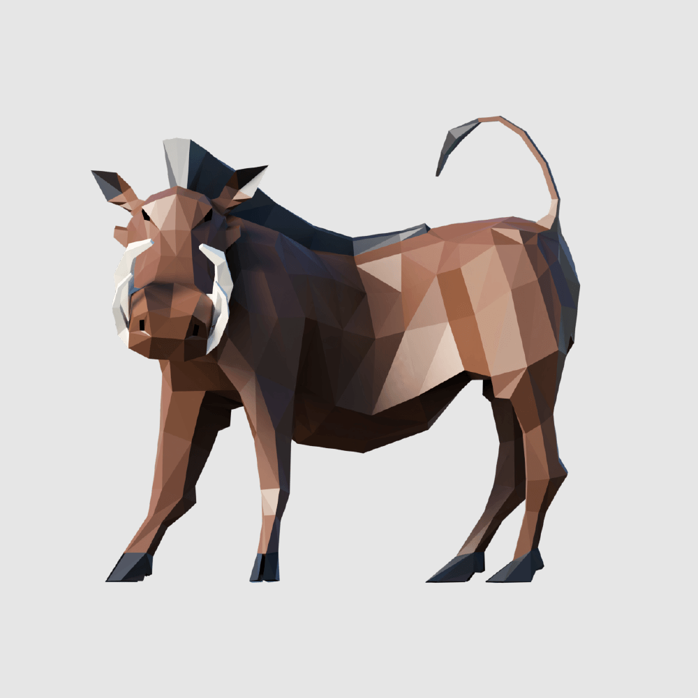 3D render warthog lowpoly model