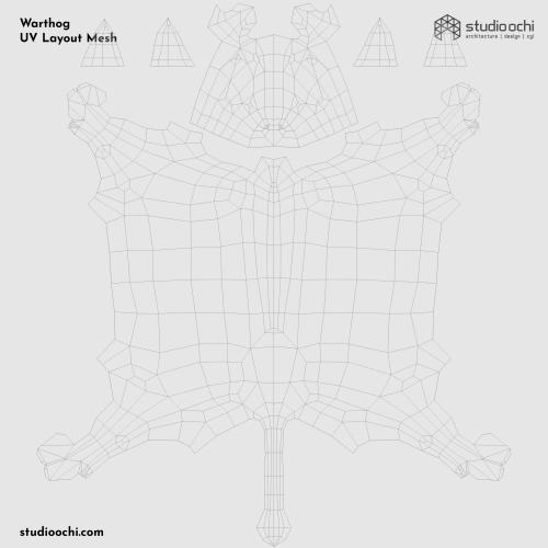 3D render warthog lowpoly model