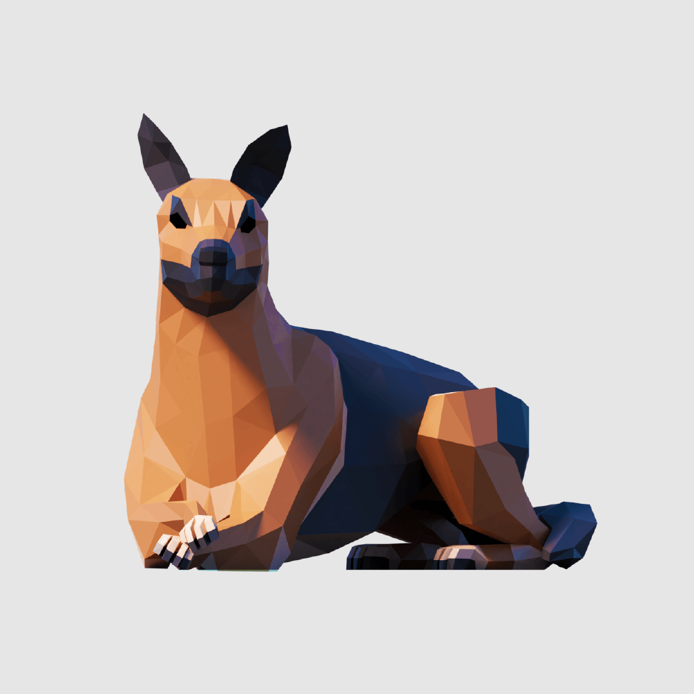3D render dog german shepherd lowpoly model