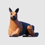 3D render dog german shepherd lowpoly model