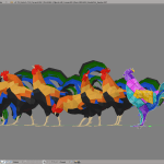 3D render rooster cock lowpoly model