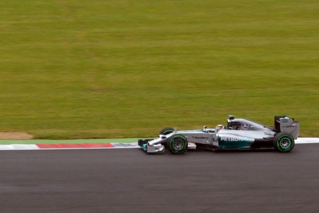 Lewis Hamilton in the Mercedes Benz W05, during qualifying for the British Grand Prix, 05/07/2014.
