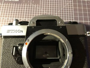 Fujica STX-1N with front name plate removed.
