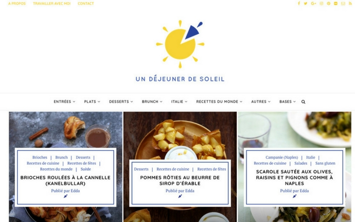 Charte graphique Blog Un dejeuner de soleil - Studio Quatremain