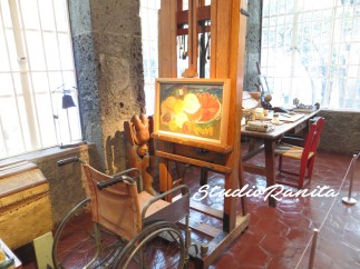 Frida Kahlo's Wheelchair, easel and painting.