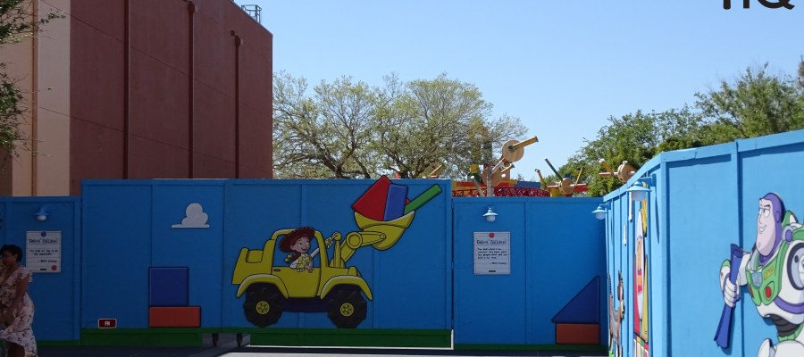 Today guests were amazed to discover that construction walls were pushed back further at Toy Story Land providing park goers an even better look at the Slinky Dog Dash attraction and other toy-filled land structures. Disney has planted trees near the restroom area as part of the ongoing landscape enhancement. View the new photos and video below to see firsthand for yourself. One step closer to the summer opening of this highly-anticipated attraction at Disney's Hollywood Studios. Photo by John Capos