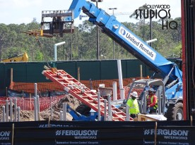 Wow, crews are working rapidly on this exciting project resulting in one of the first tall metal support poles positioned literally overnight. This innovative aerial transportation network construction is making steady progress from the Studios gondola stop toward the future Disney Caribbean Beach Resort station at Disney's Hollywood Studios. Photo by John Capos