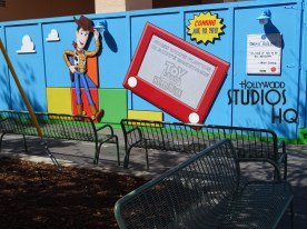 Hollywood Studios HQ was the first to report to fans the relocation of the construction wall in front of the future Toy Story Land Attraction, revealing a slightly improved view of some giant Toy Story structures nearing completion .With additional benches and new trees just planted, visitors now can count on additional seating to rest during the remaining days of the busy PIXAR Place corridor. The photos below tell this story. Disney's Hollywood Studios. Photo by John Capos
