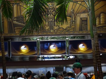 Whether ordering a burger or Mediterranean salad for lunch, or selecting between Chimichurri steak or lemon pepper salmon for dinner, menu choice at the ABC commissary just went high tech for diners. The digital menu sign undergoing installation reported here two weeks ago to readers is now glittering above the order counter. Check out the photos below for the new menu format at Disney's Hollywood Studios. Photo by John Capos