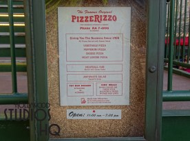 PizzeRizzo the week of Easter enjoyed dining hours later than normal as the restaurant was open until 7:30pm. Hopefully this is a trend that stays. The Stage One store right across the sidewalk has platform signs on the outside window display which go from platform 1 to 3. There is a new fun prop hanging inside the store as well. Likewise guests may not notice at the exit of Muppets 3D exit one of the two Dr. Bunsen and Beaker reminder signs reminding guest to either do not enter or to drop 3D glasses off in the bin, are gone this week. They kept the finger pointing to the purple bins for the 3D glasses. Disney's Hollywood Studios. Photo by John Capos