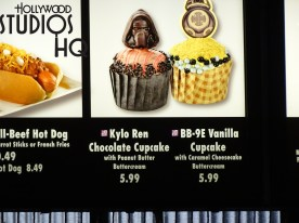 Head over to quick service restaurant The Backlot Express to savor two new cupcake delights. First, a delicious rich and creamy chocolate Kylo Ren cupcake, complete with tasty peanut butter frosting, is now being served. This replaced the favorite chocolate Darth Vader dessert as reported here a few weeks ago. Next, for vanilla fans, the BB-8 cupcake has been overcome by its evil twin vanilla cake BB-9E, complete with a buttered cheesecake cream icing. Both are priced at $5.99. Needless to say the dark side taste rules the cupcake galaxy. Disney's Hollywood Studios. Photo by John Capos