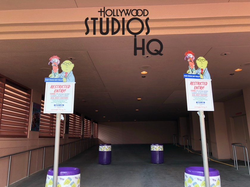We continue the good news as the second sign that has been missing from the exit of Muppet Vision 3D with Bunsen and Beaker has returned urging guests not to enter the exit area and at the same time to drop off their 3D glasses. Disney's Hollywood Studios. Photo by John Capos