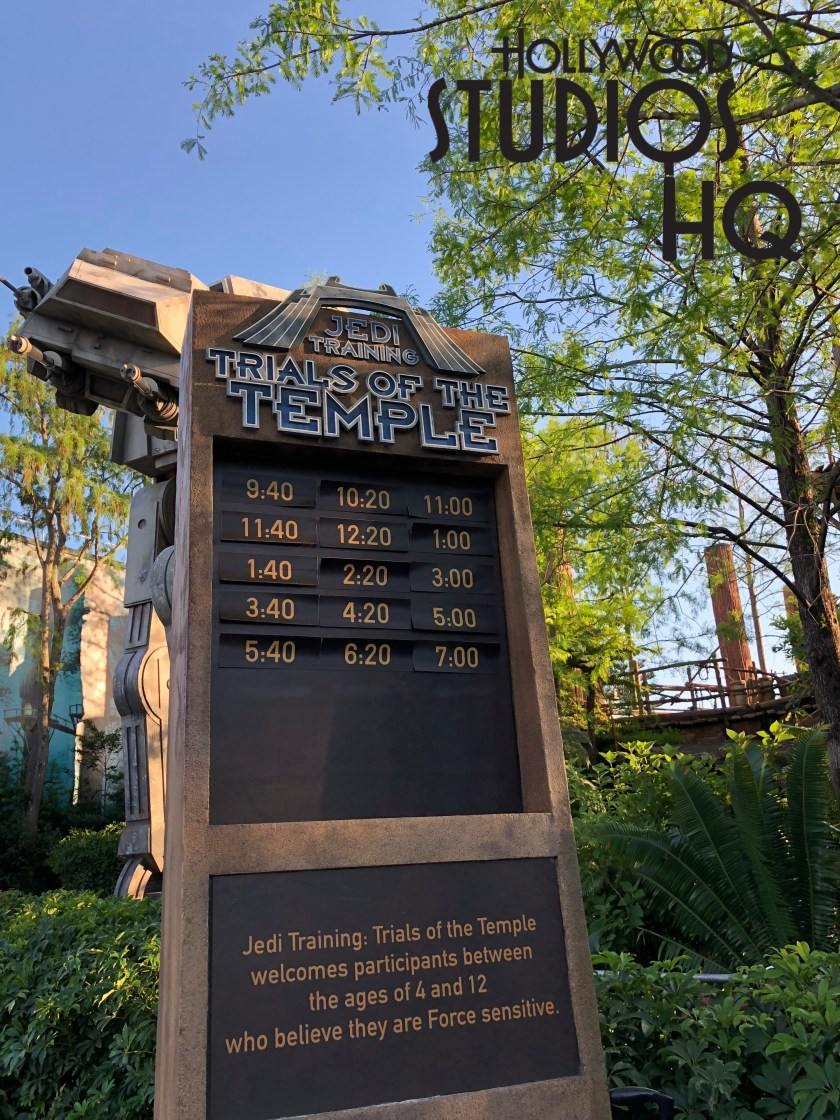 Guests with young family members ready to put their Jedi skills to the test against the dark side can now do so daily at the last two adjusted show times: Trials of the Temple begin at 6:20pm and 7:00pm. Disney's Hollywood Studios. Photo by John Capos