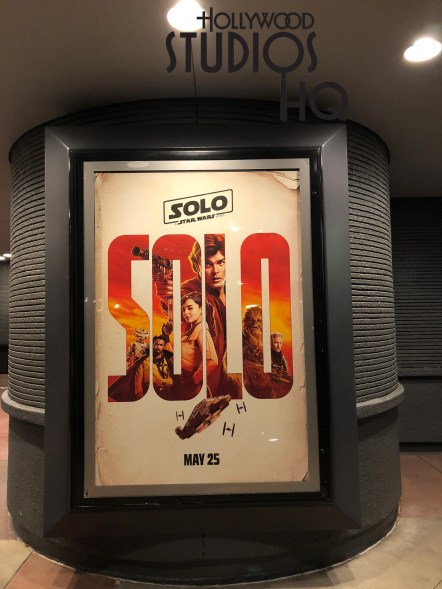 In addition to new Han Solo merchandise flooding the shelves of select Hollywood Studios shops, the pending arrival of this much anticipated film has been proclaimed throughout the Animation Courtyard as guests proceed toward the Star Wars Launch Bay entrance. Light post banners and a Launch Bay entrance poster all promote this motion picture. Disney's Hollywood Studios. Photo by John Capos