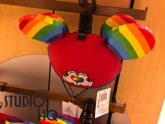 Shoppers cruising Hollywood Blvd. for new merchandise need to make their way to Mickey's of Hollywood for brand new Mickey Mouse ears that feature a rainbow heart enclosed with hands centered on the cap between similarly colored rainbow ears. With an instant popularity, these colorful rainbow ears are frequenting the entire Park. Disney's Hollywood Studios. Photo by John Capos