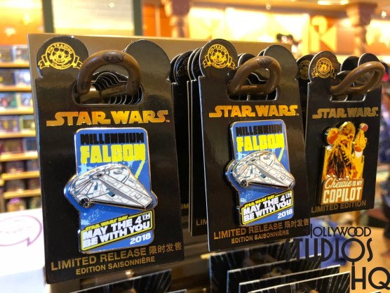 Guests celebrating the annual May 4th Star Wars Day last Monday in the Park were treated to limited edition commemorative Disney Star Wars merchandise at various retail locations. Fans could purchase a collector's royal blue t-shirt inscribed with May the 4th be with you 2018 on the front and an eye catching image of the memorable Millennium Falcon on the back. For a complete celebration look, a matching pin and hat with the same May The 4th logo were also available for sale. Accordingly, fans were able to add a special detailed Darth Vader to their action figure collection in honor of The Return of the Jedi motion picture released 35 years ago. This special merchandise may have been one day only, as none of the items remained available as of the date of this address. Disney's Hollywood Studios. Photo by John Capos