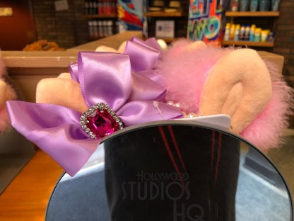 Guests can now select a Miss Piggy ears head piece to be in the spirit of Muppet Vision 3D. The Stage One store near the show's exit now stocks these over the top ears complete with the characteristic pink bow, pearl string, and red gemstone. Disney's Hollywood Studios. Photo by John Capos