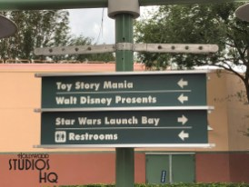 Two new multi directional outdoor signs guide guests to and from Toy Story Mania and related areas. Replacing flower planters on two lamp posts to the right hand side of the Chinese Theatre, these two sided signs provide guest directions to Disney Junior Live On Stage, Rock 'n' Roller Coaster, Tower of Terror, A Frozen Sing-Along, Star Tours, Star Wars Launch Bay, Walt Disney Presents, as well as restrooms. Disney's Hollywood Studios. Photo by John Capos