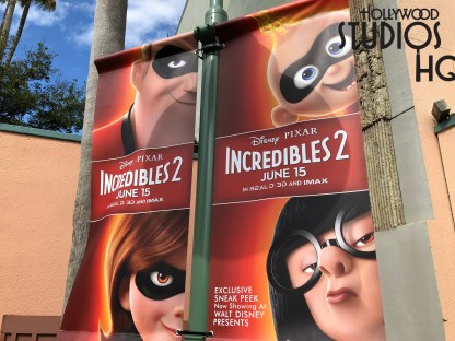Incredibles 2 characters from the upcoming motion picture inhabit lamp post banners directly across from Walt Disney Presents. Edna Mode as well as Incredibles 2 family members welcome guests to their 10 minute film preview shown daily in the Walt Disney Theatre from Park opening until 8 pm. Disney's Hollywood Studios. Photo by John Capos