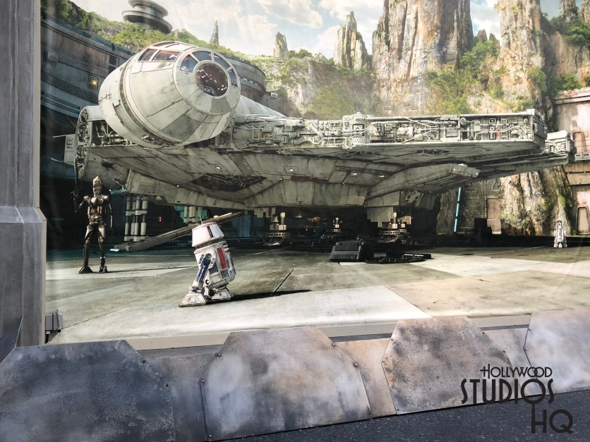 Workers recently positioned seven man made boulders at the end of Grand Avenue in an attempt to prevent guests from touching the giant Star Wars: Galaxy Edge mural. This giant pictorial of the Millennium Falcon surrounded by the Planet Batuu landscape is currently a special background for fan photographs. The photo op will eventually be removed when this location becomes the main entrance to the new land in late Fall 2019. Disney's Hollywood Studios. Photo by John Capos
