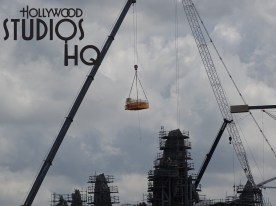 As large cranes deliver materials aloft, construction activity focuses on continued mountain range work. Scaffolding wraps peaks of multiple heights to facilitate the ongoing work on the planet Batuu. Early construction phases of the future Star Wars resort adjacent to the Galaxy's Edge immersive land are captured in exclusive photos below. Disney's Hollywood Studios. Photo by John Capos