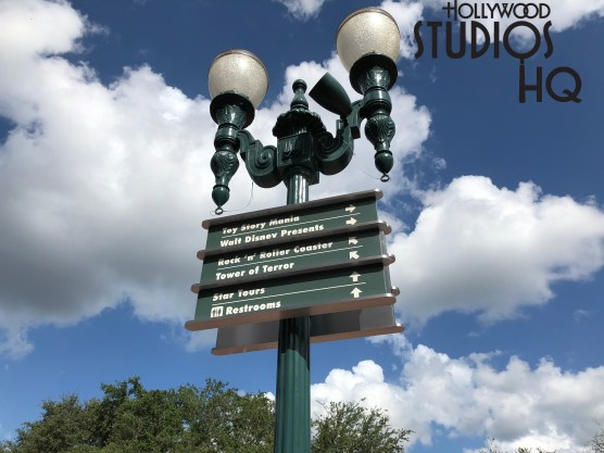 Two new outdoor directional signs, similar to the new signage reported to readers last week, appeared in Center Stage. One sign was erected before the Animation Courtyard, while the second sign is located near the Brown Derby. Disney's Hollywood Studios. Photo by John Capos