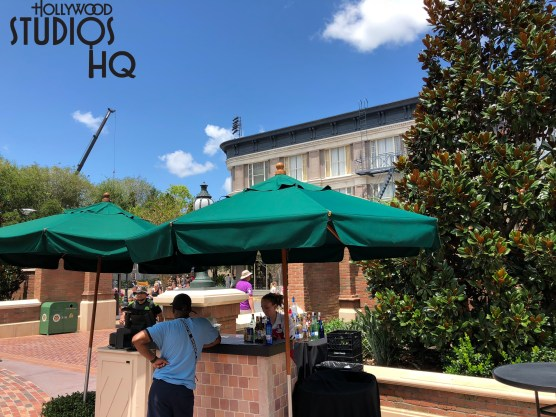 Guests can now enjoy their favorite alcoholic beverages at a new portable bar located near Gonzo's Royal Flush. This service is offered daily during late morning through midafternoon. A few stand up bar tables are available. Disney's Hollywood Studios. Photo by John Capos
