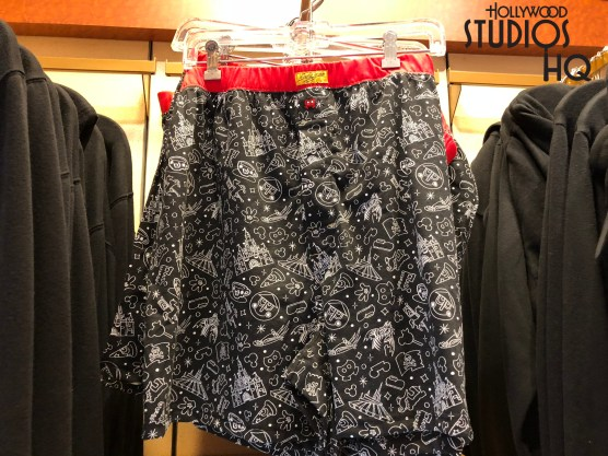. Adults can select new print pajamas in their choice of either boxer shorts or pants that feature print images of Cinderella's Castle, Space Mountain, and Thunder Mountain train. Disney's Hollywood Studios. Photo by John Capos