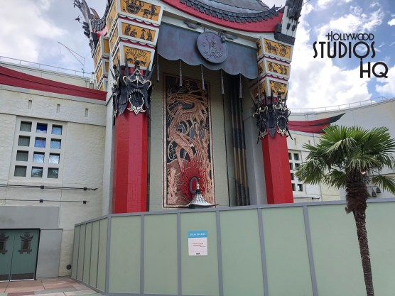 Signs of construction activity are now present surrounding the Chinese Theatre's front entrance and side guest cue area. Barrier walls are in place as work continues toward the 2019 opening of the new Mickey's & Minnie's Runaway Railway attraction. Hollywood Studios will continue to provide up to date coverage on this upcoming attraction. Disney's Hollywood Studios. Photo by John Capos