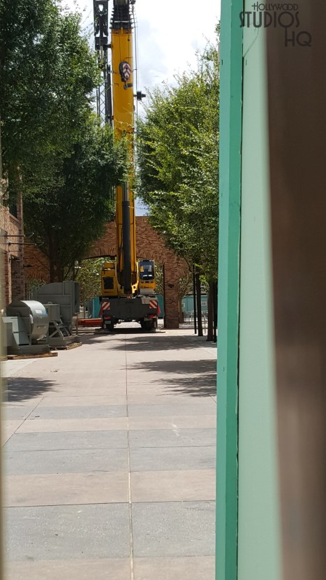 A large crane along with various equipment on pallets was observed positioned in the center of the original Pixar Place walkway. This location is now closed to guest traffic with large backstage gates. Stay connected to Hollywood Studios HQ for updates. Disney's Hollywood Studios. Photo by John Capos