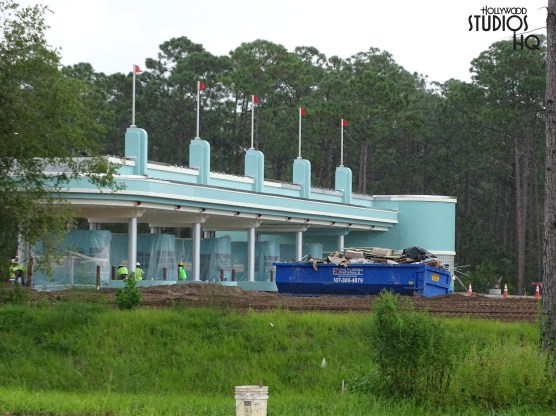 Crews continue to work toward completion of approach roadway to the future park vehicle entrance. This includes bridge work over Osceola Parkway. The new multi-booth ticket plaza has decorate pendants added as visible in new photos below. Disney's Hollywood Studios. Photo by John Capos