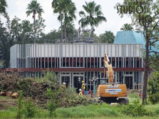 Multiple crews are visible working to complete the Park's future Skyliner arrival and departure station. Site work is ongoing around the structure with final tree removal. In addition, workers are busy with metal ceiling material and trim installation. A particular group were observed working on the existing concrete walls as visible in the photos below. There is no better source for the latest construction activity than Hollywood Studios HQ. Disney's Hollywood Studios. Photo by John Capos
