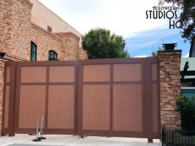 Workers finalized the installation of large swing gates to cordon off the former Pixar Place guest area. This was the frequently used walkway to the Toy Story Mania stand by and Fast Pass entrances which have been subsequently relocated to the new Toy Story Land. These new backstage gates are similar in design to those on Grand Avenue. Disney's Hollywood Studios. Photo by John Capos