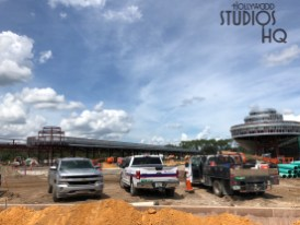 Crews are busy completing site work surrounding the future Disney resort bus arrival and departure structure. Construction equipment can be seen in motion in the photos below. Excavations are also underway to install large concrete piping in the previous guest tram lane area. Disney's Hollywood Studios. Photo by John Capos
