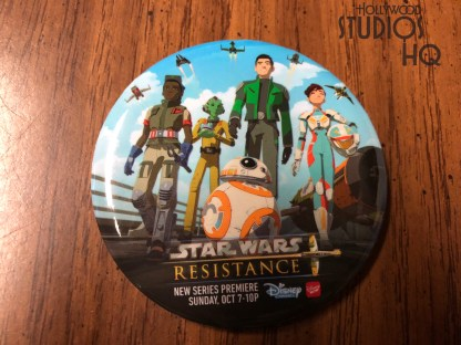 Star Wars Launch Bay commemorates the new Disney Channel series Star Wars Resistance with a free full color button for guests. The new series premiered back on October 7 and can be viewed on Sundays at 10 pm. Disney's Hollywood Studios. Photo by John Capos