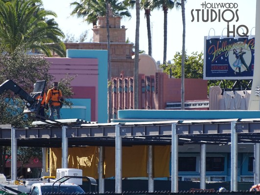 Construction crews remain active with brand new metal structure fabrication in the former guest tram pick up area. Additional site work continues around the Disney Resort Bus arrival and departure area. Painting and cement finishing are in progress along with electrical work to install overhead lighting and guest cooling fans. The best source for all construction activity remains Hollywood Studios HQ. Disney's Hollywood Studios. Photo by John Capos