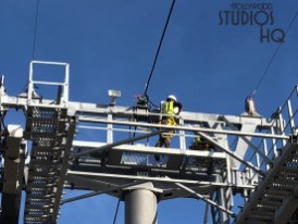 Contractors have been installing electrical within the Skyliner passenger arrival and departure structure. This includes walkway and exit lighting. Likewise, speaker horns are being placed atop gondola cable towers. Hollywood Studios HQ continues to bring up to date Skyliner project news. Disney's Hollywood Studios. Photo by John Capos