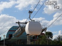 Skyliner gondolas are visible moving along the overhead cabling in and out of the Park's station still wrapped in original shipping covering. Exclusive video below reveals crews conducting operational tests of the gondolas in motion with individual boarding doors opening and closing. Workers are installing overhead ceiling fans in the guest loading area and conducting additional site work day and night.The best source for Disney Skyliner updates remains Hollywood Studios HQ. Disney's Hollywood Studios. Photo by John Capos