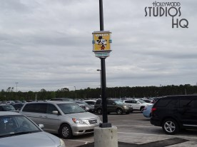 Guests now identify their vehicle parking location by images of beloved Disney characters. The original parking lot section signs have been replaced by smaller but colorful Disney character images. The new signage includes row numbers. Continuing coverage of main entrance construction news is always at Hollywood Studios HQ. Disney's Hollywood Studios. Photo by John Capos
