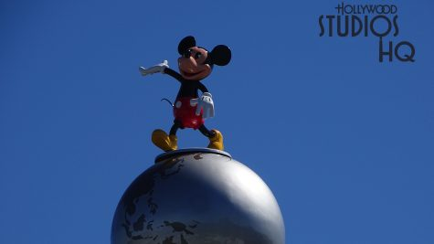 Workers have returned Mickey Mouse atop the Crossroads of The World at the Park entrance. After a short absence for refurbishment, Mickey once again greets guests entering the Park. All refurbishment news is available at Hollywood Studios HQ. Disney's Hollywood Studios. Photo by John Capos