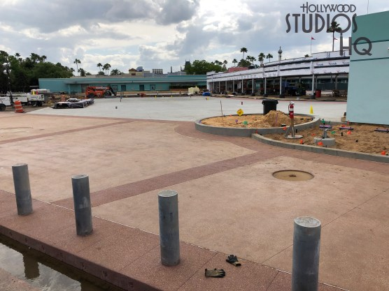 Construction work continues in the former guest tram arrival area with the installation of insulation to the structure. Crews continue site work including the placement of bollards and completion of tram and pedestrian travel surfaces. Stay connected to Hollywood Studios HQ for the latest construction updates. Disney's Hollywood Studios. Photo by John Capos
