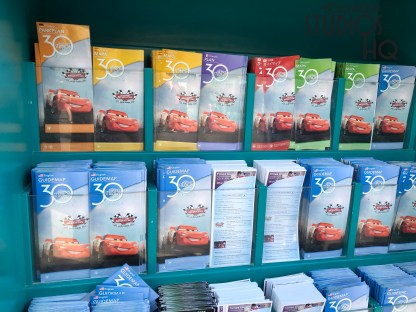 New Park guide maps display on the cover the 30th anniversary logo as well as the newly opened Lightning McQueen Racing Academy. Disney's Hollywood Studios. Photo by John Capos