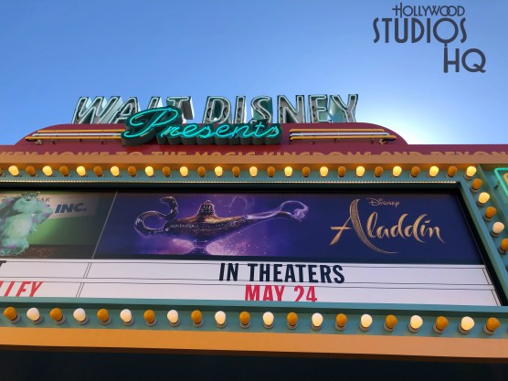 "Guests can now enjoy a sneak-peak of Disney's soon to be released live-action ""Aladdin"" motion picture in the Walt Disney Theater. This 10 minute showing replaces the Dumbo preview. Stay connected to Hollywood Studios HQ for all attraction news and updates. Disney's Hollywood Studios. Photo by John Capos"