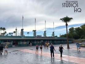 Workers have removed construction walls to reveal an expanded walk way at the Park entrance. After departing the security bag check, guests now have a larger paved approach to the ticket areas complete with new landscaping. Stay tuned to Hollywood Studios HQ for the latest construction updates. Disney's Hollywood Studios. Photo by John Capos