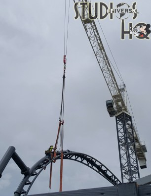 Construction crews continue work on the yet to be announced Jurassic Park roller coaster project. Steel fabrication efforts to complete track expansion are highlighted below in both photos and an exciting video. Stay here with Hollywood Studios HQ for the best Park construction updates. Photo by John Capos. Universal Orlando