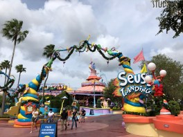 Guests are treated to an early touch of holiday decor at the Port Of Entry and Seuss Landing this week. Colorful Christmas decorations on display at these locations signal the beginning of the Park's holiday season. Stay connected to Hollywood Studios HQ for all the sights and sounds of Universal Studios Florida Christmas. Photo by John Capos